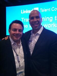 Meeting Cory Booker at LinkedIn Talent Connect.