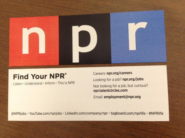 NPR Recruiting Calling Card